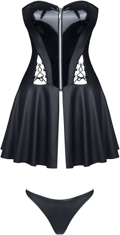 Demoniq Ladies Mini Dress with Thong in Wetlook