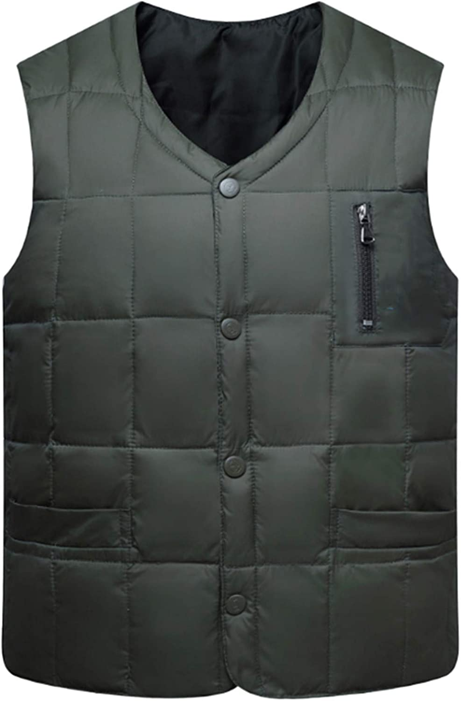 IGJMOD 80% White Duck Down Vest Men V-Neck Button Down Bodywarmer Thick Slim Waistcoat ArmyGreen XL