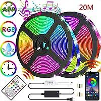 12V 5050 RGBLEDストリップライト20m音楽APPコントロールロープライトホームTVキッチンDIY室内装飾用Bluetoothテープライト。5M