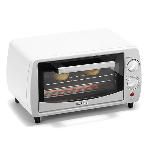 Klarstein Minibreak - Mini Four Ultra Compact 11L avec minuterie et température jusqu'à 250°C (800W, Plaque et Grill, 2 éléments de Chauffe) - Blanc