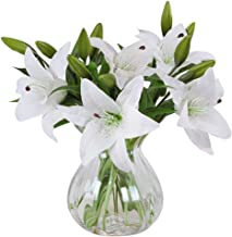 Meiwo Artificial Flowers, 5pcs Artificial Lillies with 3 Buds, Full Bloom Artificial Latex Real Touch Flowers for Home Decor, Wedding, Parties, Offices, Restaurants(White)