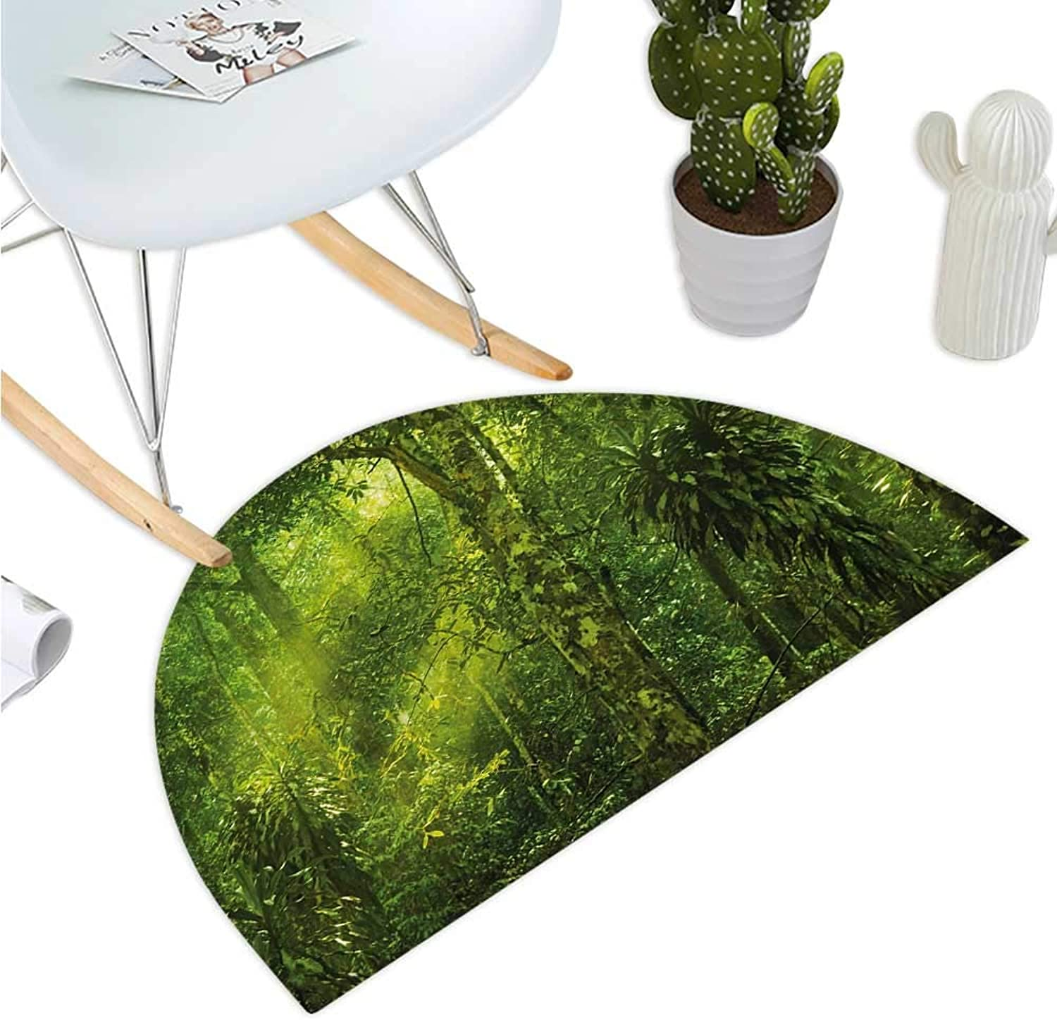 Plant Semicircle Doormat Tropical Tranquil Place with Lots of Green Trees Earthly Places Untouched Jungle Halfmoon doormats H 43.3  xD 64.9  Apple Green