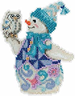 Jim Shore Snowy Owl Snowman Counted Cross Stitch Kit-5x5 18 Count