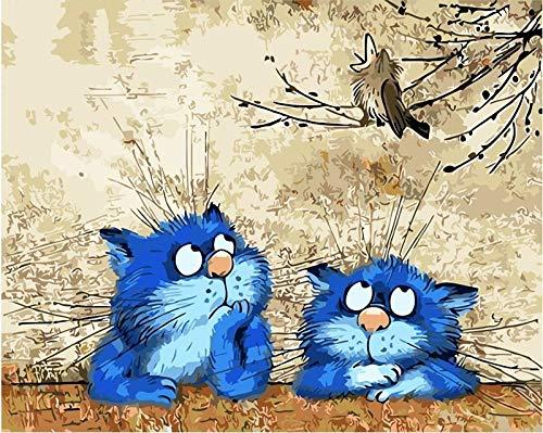 Handaxian Decoración de la Pared Decoraciones Impresiones en Lienzo Imágenes Obra para el Dormitorio Sala de Estar Baño-Gato Azul Animal(80x120cm) Sin Marco