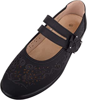 Absolute Footwear Womens Comfort Casual Wide Fit Shoes/Sandals with Strap Fastening