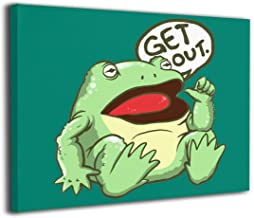 HAINANBOY Get Out Something Awful Frog Wall Art Wooden Inside Frame Wall Artwork Prints Hanging for Home Living Room Bedroom 20