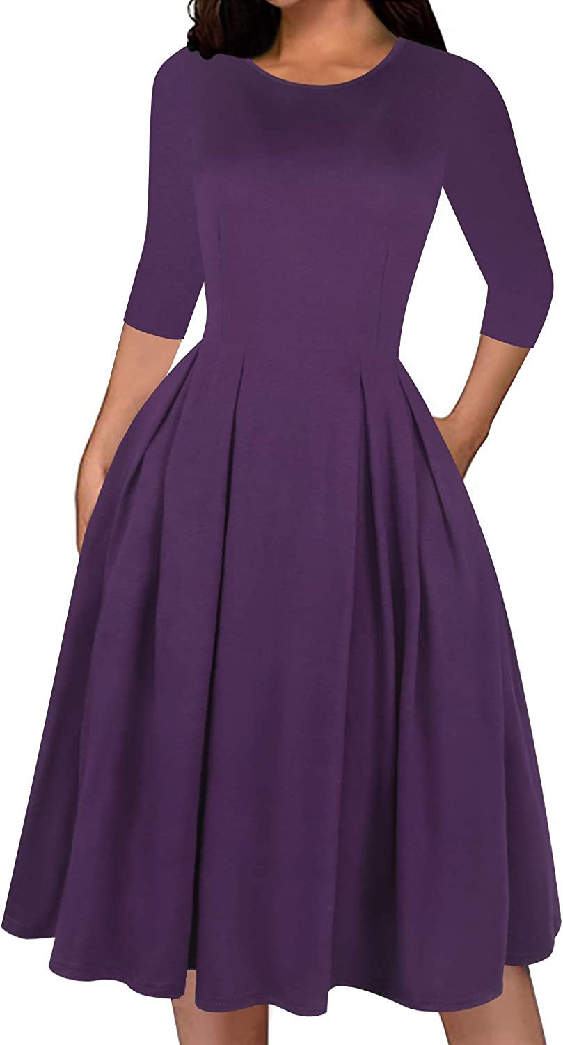 oxiuly Women's Classic Scoop Neck Cotton Work Casual Dress Elegant Vintage Party Dresses with Pockets OX365