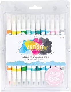 docrafts Artiste Dual Tip Brush Markers, Pastel, 12-Pack