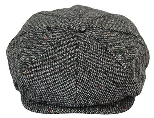 King Berretto in Tweed da Uomo Stile Blinders 8 Spicchi Motivo a Scacchi Grigio XL(59cm)