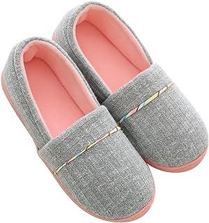 Pingenaneer Pantofole di Cotone per Donna - Antiscivolo Scarpe Chiuse Ciabatte Invernali