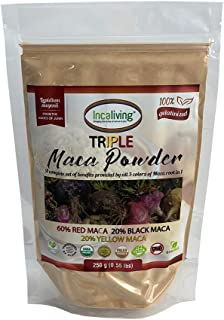 Triple Maca Powder by Incaliving (Red, Black and Yellow Maca) * 100% USDA Organic * 100% Gelatinized * 250g * Authentic Pe...