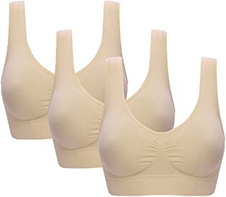 Vermilion Bird Women s 3 Pack Seamless Comfortable Sports Bra with  Removable Pads