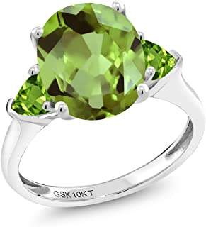 10K White Gold Green Peridot 3-Stone Women's Engagement Ring 3.52 cttw Oval Gemstone Birthstone Available in size 5, 6, 7, 8,