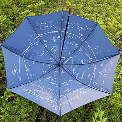 Zonnig En Regen Dual Doel Paraplu, Ultra-Licht Zilver Lijm Lange Steel Hemel Sterrenhemel Constellatie Parasol Met Lotus Leaf Effect En Zonwering Anti-UV-Functie,Blue