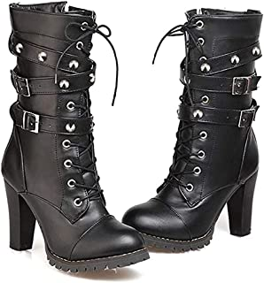 High Heels Women's Blocks Chunky Boots, Fashion Lace Up Punk Buckle Rivet Strap Combat Mid PU Boots