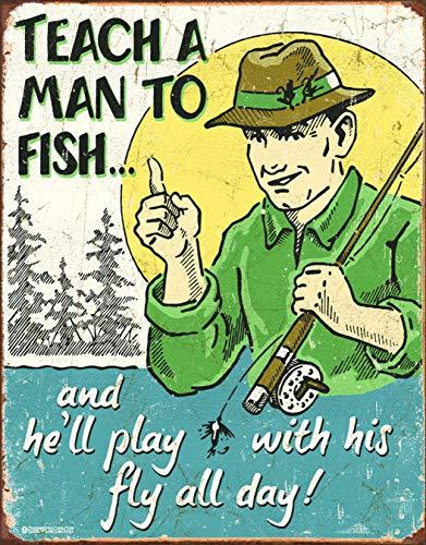 "Desperate Enterprises Schonberg - Teach A Man to Fish Tin Sign, 12.5"" W x 16"" H"