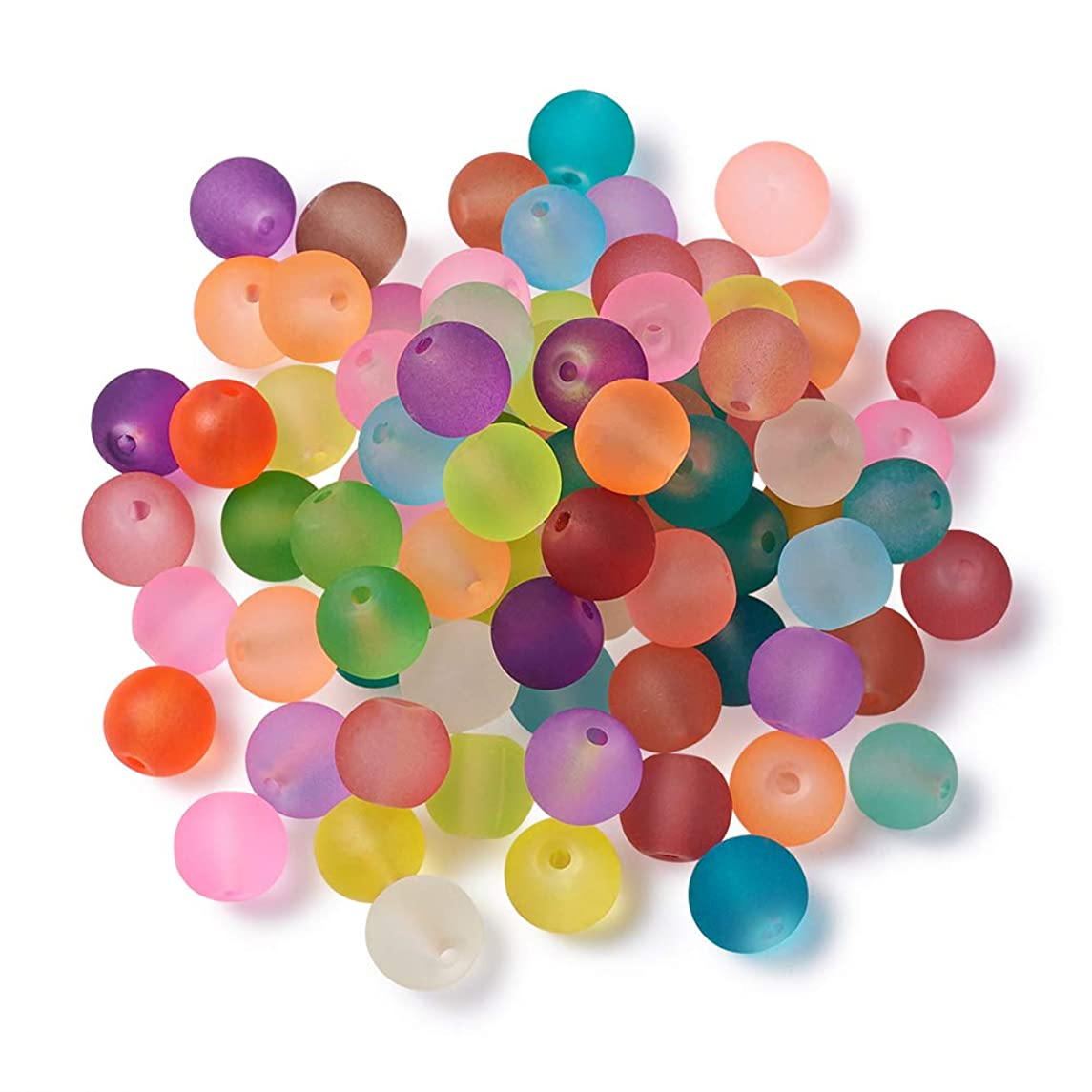Craftdady 500PCS 8mm Assorted Mixed Round Transparent Frosted Crystal Glass Beads Loose Beads for Jewelry Making