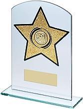 Lapal Dimension Jade/Gouden Glas Gebogen Rechthoek met Voetbalinzet Trofee - 7,25 duim