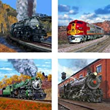 CoasterStone AS1950 Absorbent Coasters, 4-1/4-Inch,Trains, Set of 4