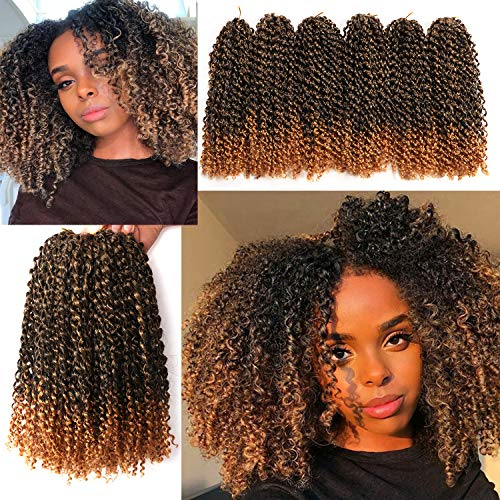 12 Inch Short Passion Twist Hair Marlybob Crochet Hair 6 Small Bundles Kinky Curly Crochet Hair Short Crochet Braids Jerry Curly Crochet Hair Kinky Twist Crochet Hair Crochet Braiding Hair (1B/27#)
