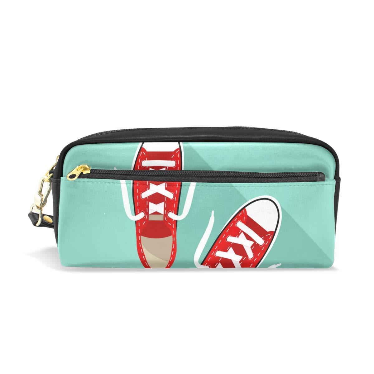 Estuche de piel para lápices, diseño de zapatillas rojas sobre fondo turquesa: Amazon.es: Oficina y papelería