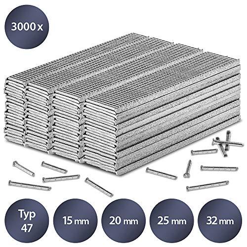 TROTEC Juego de clavos para grapadora tipo 47, 15, 20, 25 y 32 mm de longitud (3000 unidades)