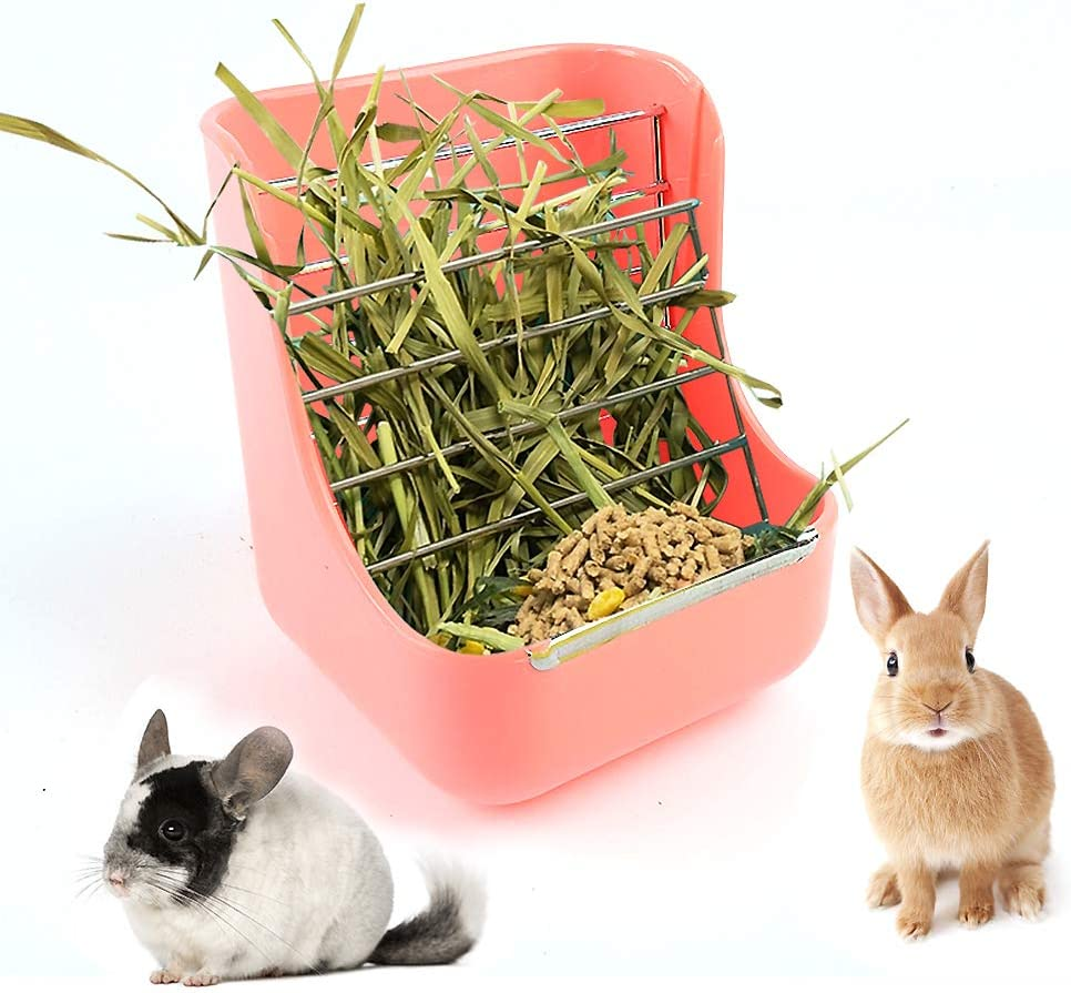 CROWNY 2 in 1 Food Hay 2021 new Feeder Pet for Guinea Rabbit Pig S Ranking integrated 1st place Grass
