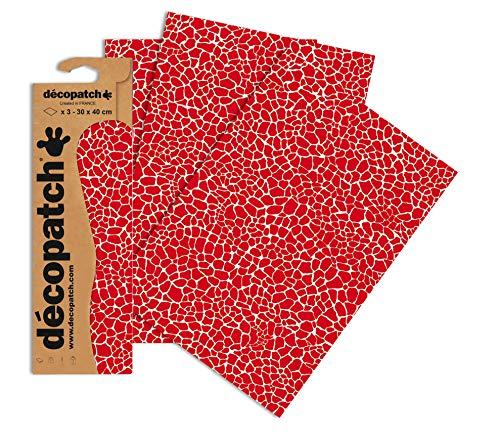 Decopatch Papier No. 546 (rot Giraffe, 395 x 298 mm) 3er Pack