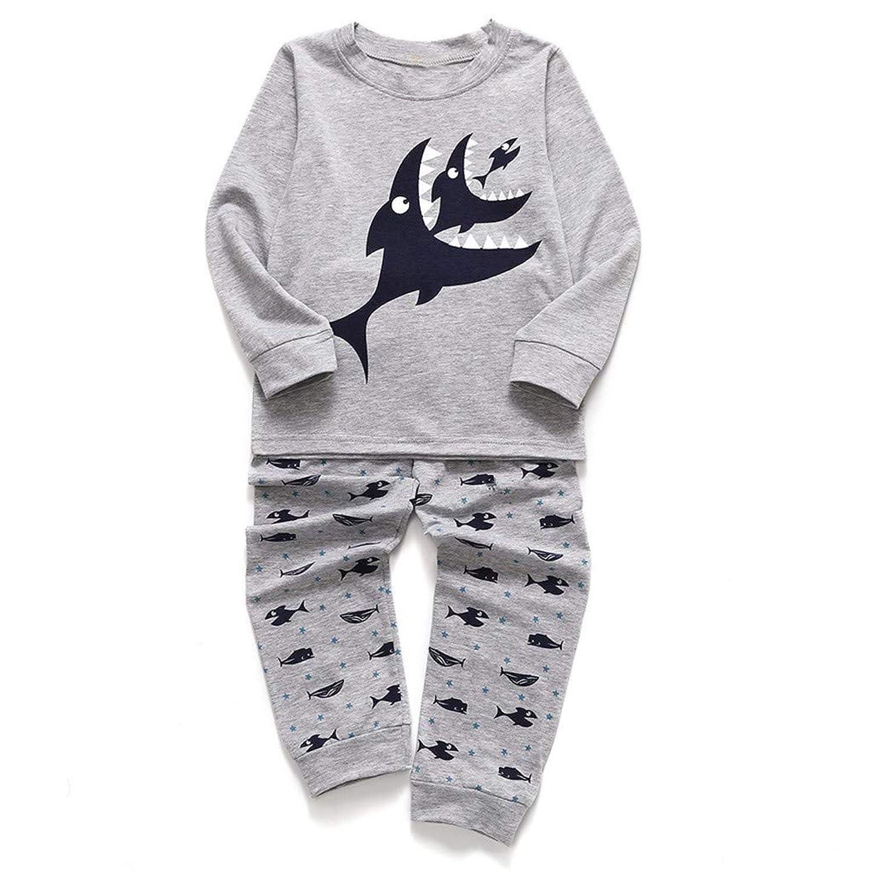 長袖 サメのプリント トップ+パンツホームパジャマセット 子供パジャマ 丸首 さらっと薄手 寝間着 寝巻き 上下セット