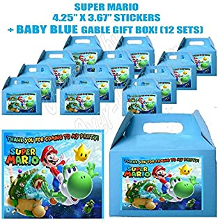 Mario Bros Game Video game Party Favor Boxes with Thank you Decals Stickers Loots Hot Pink Birthday Shower 12 PIECES GREAT SELLER