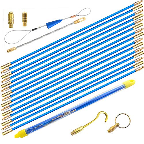 50' Fiberglass Cable Wire Running Rod Coaxial Electrical Connectable Fish Tape Pull Kit With Hook And Hole Kit In Transparent Tube, Blue