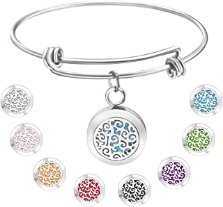 Essential Oil Diffuser Bracelet Gift for Women, Jack & Rose Stainless Steel Bangle Aromatherapy Bracelet Locket with 8 Washable Color Pads,Jewelry Gifts for Women for Birthday Christmas Valentines Day