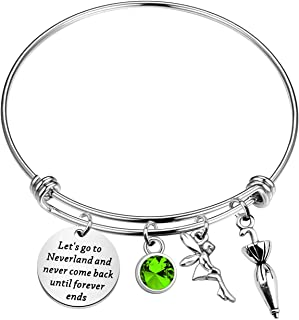 KUIYAI Let's Go to Neverland and Never Come Back Until Forever Ends Bracelet Peter Pan Inspired Gift Neverland Gift Movie Quote Jewelry