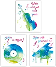 "HPNIUB Music Notes &Classic Instrument Wall Poster Set of 3 (8""X10"" Inspirational Quotes Wall Canvas Art for Teens Gifts Bedroom Or Classroom, No Frame"
