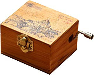 ACCOCO Personalizable Wood Musical Box Music Box Melody Carrying You from Castle in The Sky (Wooden, Laputa Castle in The Sky)