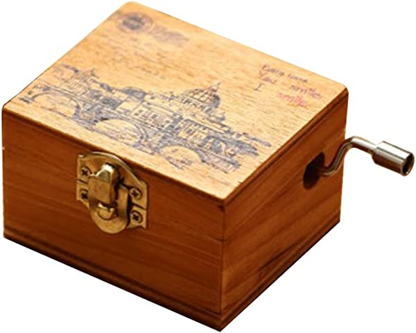 ACCOCO Personalizable Wood Musical Box Music Box Melody Carrying You From Castle In The Sky Wooden Laputa Castle In The Sky