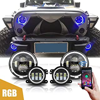 MAIKER 7 inch RGB LED Headlights + 4 inch LED Fog Light Combo with for 2007-2018 Jeep Wrangler Unlimited JK 4 Door/2 Door