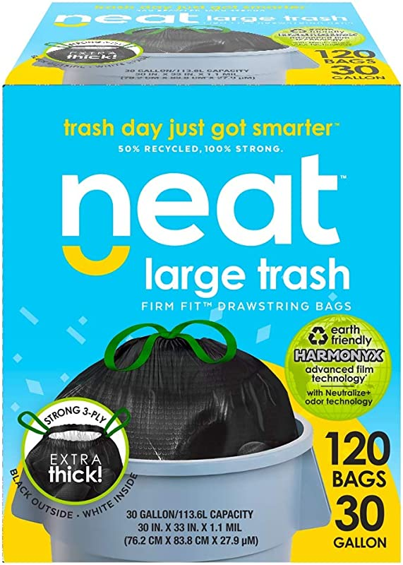 Neat 30 Gallon Drawstring Trash Bags MEGA 120 COUNT Triple Ply Fortified Eco Friendly 50 Recycled Material Neutralize Odor Technology Reversible Black And White Garbage Bags