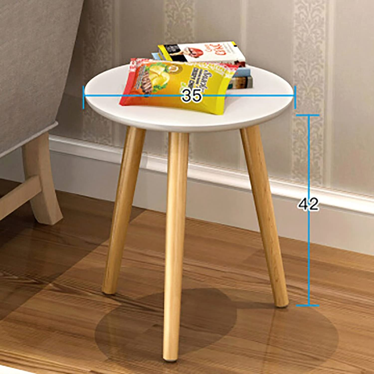 Solid Wood Waterproof Side Table, Round Living Room Sofa Table Coffee Table Bedroom Night Table Vintage Telephone Table-White 35x42cm