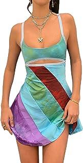 ZhaZhaMeng Kvinnor Färgglad Y2k Miniklänning Halterneck Bodycon Sommar Sexig Rygglös Partyklänningar Vintage Solklänning S...