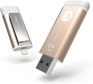 Adam Element 64 GB iKlips Apple Lightening Flash Drive, Gold