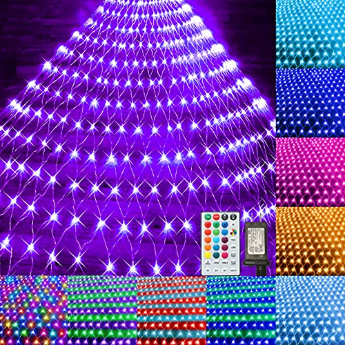Color Changing Halloween Christmas Net Lights 9.8x6.6ft Connectable Plug in LED Mesh Lights with Remote for Xmas Tree Lights, Bushes, Wedding, Garden, Indoor, Outdoor Decorations Clearance