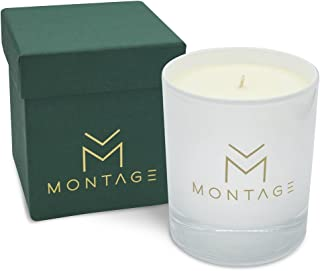 Montage Lifestyle Pine, Cinnamon & Bergamot Soy Wax Candle in Gift Box- Down to Earth- Aromatherapy Candle for Calming with 100% Pure Essential Oils- 7OZ- 60Hrs- Handmade in Greece