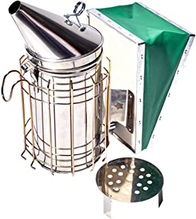 Stainless Steel Bee Smoker for Beekeeping with Heat Shield, Green Bellow, Extra Thick Smoking Plate and Heavy Duty Features