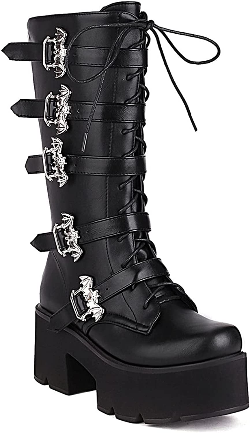 Women's Platform Mid Calf Booties Chunky Block High Heel Combat Boots Round Toe Lace Up Goth Ankle Boots Plus Size Zip Buckle Shoes