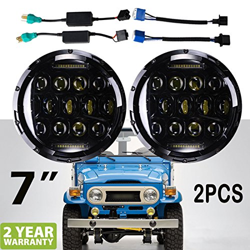 7 Inch For Toyota Land Cruiser FJ40 LED Round Headlights Hi/Lo Double Beam DRL Driving Lamp Replacement 75W 6000K H5024 5024 6012 6014 6015 H6017 H6024 2PCS - US Stock -  Autobaba