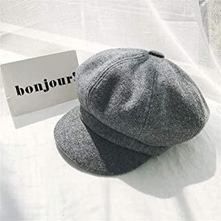 SHENTIANWEI South Korean Female Winter hat, Ms. Benn Beret Painter Cap Vintage Wool Cap Autumn and Winter Korean Version of Star Anise (Color : Grey, Size : One Size)