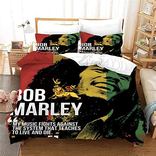ANFDGD Juego de ropa de cama Bob Marley, funda nórdica de 135 x 200 cm y funda de almohada de 80 x...