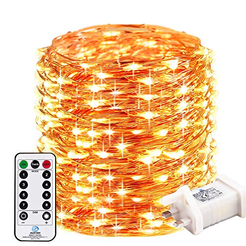 RcStarry 500 LED 50M Led String Lights, Remote&Timer 8 Modes Copper Wire Fariy Lights Plug in,IP65 Warterproof for Outdoor, Indoor, Wedding,Christmas, Garden, Gazebo and More,(Warm White)