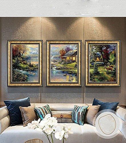 ZSH Soggiorno Decorazione Pittura Dipinto a Mano Sfondo Muro Dipinto Pittura Giardino Ristorante Salotto Tre Pittura Murali Incorniciati,F,54 * 74CM
